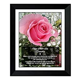 Happy Mother\'s Day Grandma - Sweet Poem for Grandmother from Grandson or Granddaughter in 8x10 Inch Frame