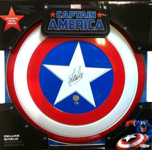 Stan Lee Autographed/Signed Captain America Shield Stan Lee Hologram Avengers Marvel