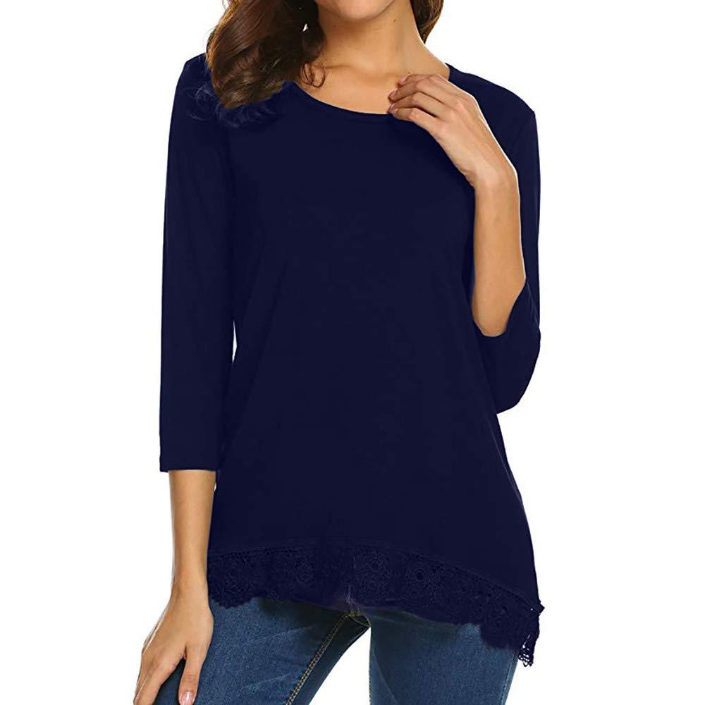 Kinlene Camiseta de chifón de Encaje para Mujer, Mujer Camiseta Elegante Verano Manga Larga Blusa: Amazon.es: Ropa y accesorios