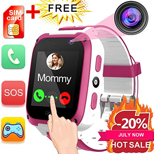 iGeeKid Kids Phone Smart Watch for 3-14 Years Girls Boys Toddler 2 Way Call SOS 1.54'' HD Touch Screen Camera Math Game Flashlight Digital Gizmo Learning Cellphone Wristwatch for Electronic Toys