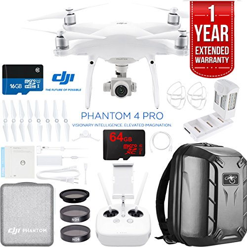 DJI Phantom 4 Pro Quadcopter Drone Camera with Battery, Charging Hub, Custom Backpack and 64GB Memory Card (CP.PT.000488) ()