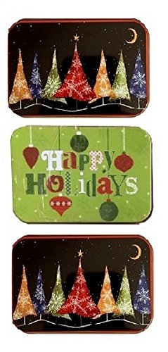 Christmas Gift Card Tin Box Christmas Trees Glowing and Happy Holidays 3 Pack