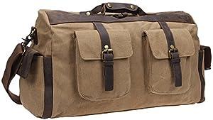 Blueblue Sky Oversized Leather Canvas Casual Travel Satchel Luggage Duffel Handbag#1858