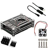 Basic 4 in 1 Kit for Raspberry Pi 2 and B+, Raspberry Pi Sliced 9 Layers Case Box + Cooling Fan+Two Aluminum Heatsinks+Switch(Black)