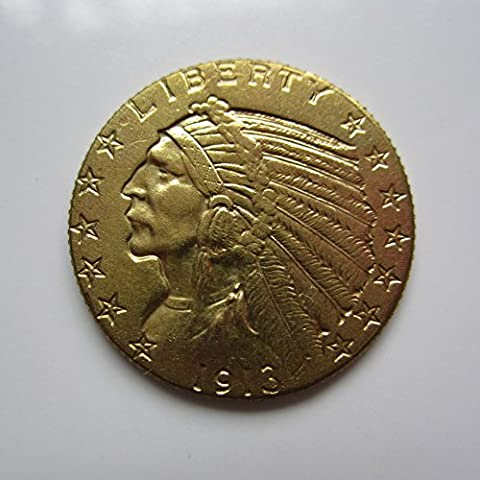 gold-plated 1913-S $5 GOLD Indian Half Eagle Coin Copy (Indian Gold Ornaments)