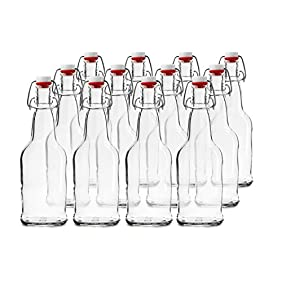 Chef's Star CASE OF 12 - 16 oz. EASY CAP Beer Bottles - CLEAR