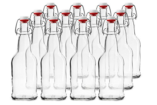Home Brewing Glass Beer Bottle with Easy Wire Swing Cap & Airtight Rubber Seal | Clear | 16oz | Case of 12 | by Chef's Star ()