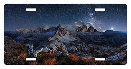 zaeshe3536658 Night License Plate, Dolomites Italy Alps Mountain Landscape with Starry Night Sky Milky Way, High Gloss Aluminum Novelty Plate, 6 X 12 Inches.wood Tan