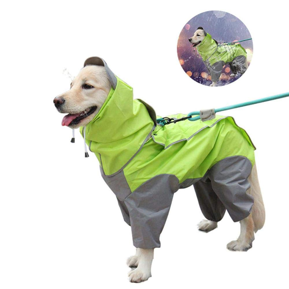 Heboom Dog Jumsuit Raincoat with Hood and Leash Hole Waterproof Windproof 4 Legged Dogs Rain Poncho Clothes for Medium Large Breed Pets Green L by Heboom