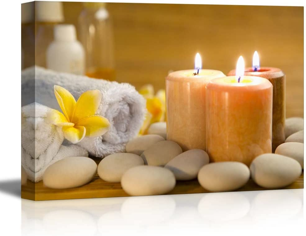 "wall26 - Zen Stones Burning Candles in a Spa - Canvas Art Wall Art - 12""x18"""