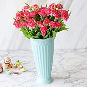 Artificial Flowers - 10 Heads 1 Bouquet Artificial Flowers Mother 39 S Day Gift Carnations Silk Decorative Fake - Pots Royal Lillies Green Headstones Emerald Pack Tall Touch Flowers That Basket 85