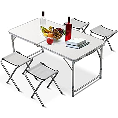 Yaheetech Height Adjustable Lightweight Folding Camping Table with 4 Chairs Silver (Table + Chairs)