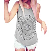 Clearance! Ruhiku GW Women Voyage Printed Tank Tops Sleeveless T-Shirt Comfy Blouse Casual Vest Tops Loose Summer Shirts