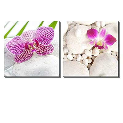 Two Piece Canvas - Pink Orchid Flowers on White Rocks on 2 Panels - Canvas Art Home Art - 12x12 inches