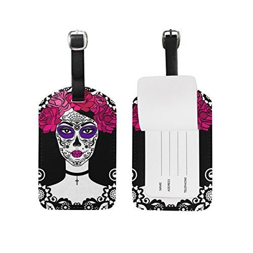 Sugar Skull Dia De Los Muertos Bag Tags Luggage Travel Labels Tag for Baggage Suitcase