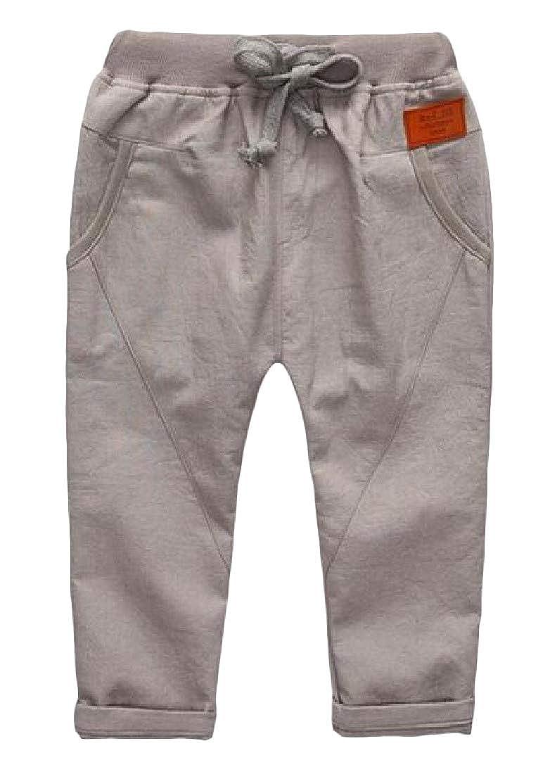 Macondoo Boy Pull-On Casual Comfortable Cotton Solid Color Waist Drawstring Pants