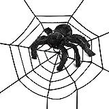 WXJ13 5 Feet x 5 Feet Large Black 5 Circles Halloween Fake Spider Web with 12 Inches Black Realistic Plush Spider