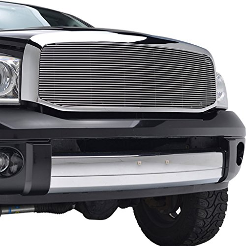 Billet Chrome Grille Shell - E-Autogrilles 06-08 Dodge Ram 1500 / 06-09 Dodge Ram 2500/3500 Aluminum Polished 4mm Horizontal Replacement Billet Grille with Chrome ABS Shell (42-0347)