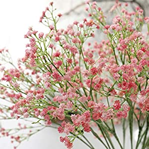 Passion-Producer 80 Mini Heads 1PC DIY Artificial Baby's Breath Flower Gypsophila Fake Silicone Plant Wedding Home Party Decorations 8 Colors 89