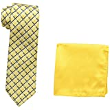 U.s. Polo Assn. Men's Geo Plaid Tie And Pocket Square Set, Gold, One Size