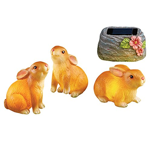 Solar Bunny (Collections Etc Solar Powered Bunnies Garden Figurines Set of 3)