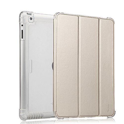 Valkit For iPad 2 Case, iPad 3 Case, iPad 4 Case, iPad 2 3 4 Cases Shockproof Smart Stand Protective Heavy Duty Rugged Impact Resistant Armor Cover, Champagne gold