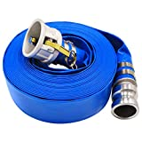 """2"""" x 50' Blue PVC Lay-Flat Discharge Hose with"""
