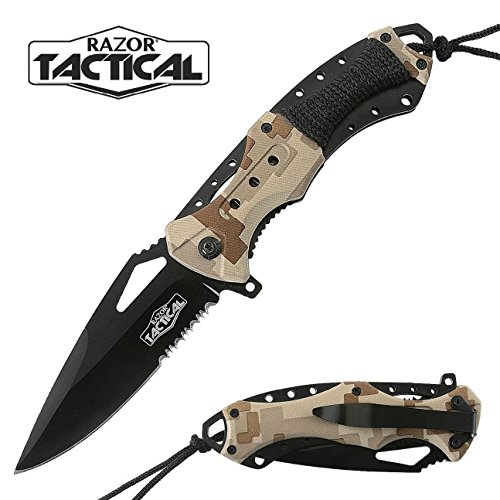 Spring Assisted Pocket Knives with ABS Handle and Clip By Tactical Razor (Digital Camo)