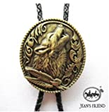 bolo tie bolotie western rodeo cowboy wolf gold