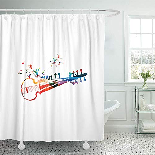 Emvency Shower Curtain Set Waterproof Adjustable Polyester Fabric Colorful Indian Sarod Music Notes and Hummingbirds Instrument for Concert 72 x 78 Inches Set with Hooks for Bathroom