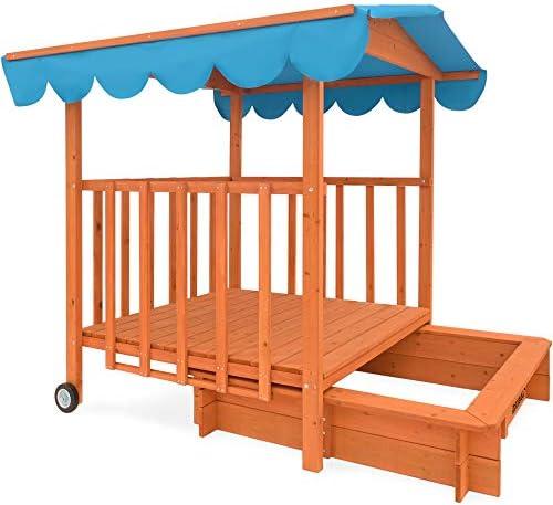 Spielwerk Arenero Infantíl móvil con Veranda Techo con protección UV 50 área de Juego de Madera con Banco niños jardín: Amazon.es: Juguetes y juegos
