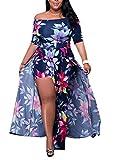 Women's Oversize African Print Floral Off Shoulder A Line Split Party Dress