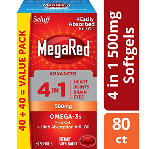 Omega-3 Fish Oil + High Absorption Krill Oil 500mg Softgels, MegaRed Advanced 4in1 (80 count in a bottle), Concentrated Omega-3 Fish & Krill Oil Supplement