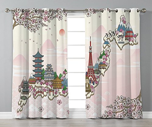 Thermal Insulated Blackout Grommet Window Curtains,Japanese,Japan Travel Poster with Sakura Tree Branches Blossoms Asian Journey Destination,Multicolor,2 Panel Set Window Drapes,for Living Room Bedroo