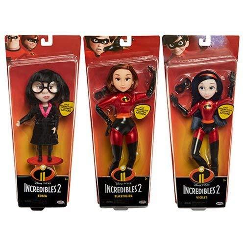 Incredibles 2 Costumed Dolls Wave 1 set of 3 Elastigirl, Violet, and Edna E. Mode.]()