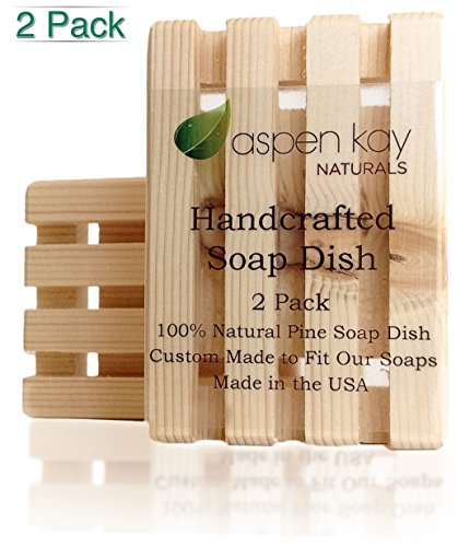 2 Pack Wood Soap Dish, 100% Natural Pine, No Chemical Varnish, Lacquer or Stain is Used, Custom Made to Fit Our Soaps Exactly, Handmade in the USA, Wo…