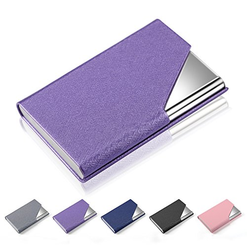 Business Card Holder Case, AHGXG Professional Slim Name Card Case Credit Card ID Holder PU Leather&Stainless Steel Metal Wallets with Magnet Shuts for Men&Women, Keep 20 Business Cards, Purple