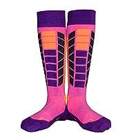Soared Kids Girls Winter Ski Snowboard Snow Warm Knee Over the Calf High Performance Socks 2 Pairs