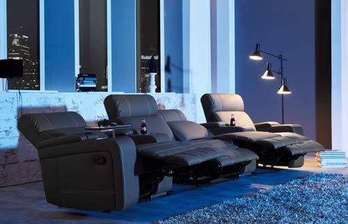 lifestyle4living - 4 Butacas de Cine, Piel sintética, con ...