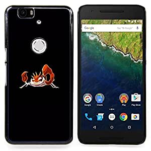 "Qstar Arte & diseño plástico duro Fundas Cover Cubre Hard Case Cover para Huawei Google Nexus 6P (Meter monstruo naranja cangrejo"")"