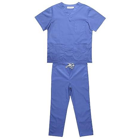 Gazechimp Hombres Mujeres Uniforme de Clinica Hospital Ropa para Enfermería 5 Tipos de ColorPúrpura/Azul/Rosado/Verde/Rojo: Amazon.es: Ropa y accesorios