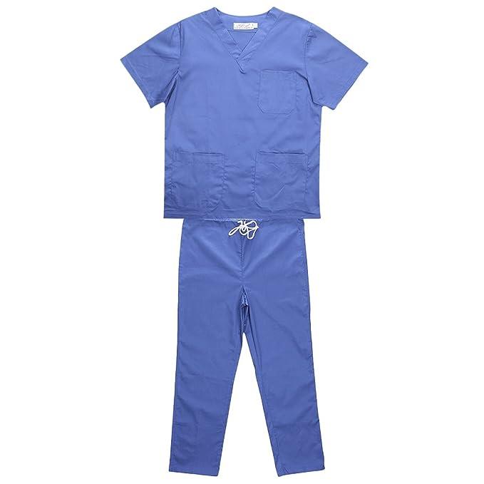 Gazechimp Hombres Mujeres Uniforme de Clinica Hospital Ropa para Enfermería 5 Tipos de ColorPúrpura/Azul