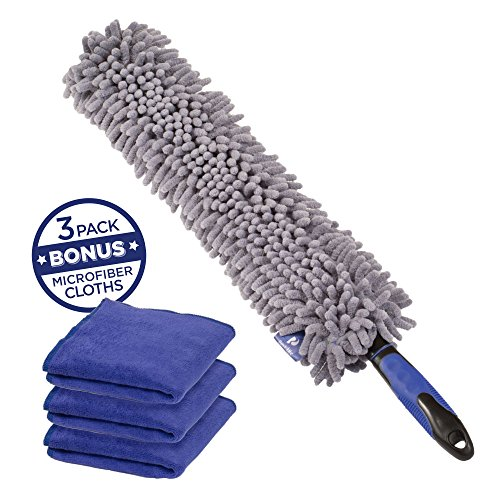 Busy Life Car Duster Interior Set - 4 Piece - Extra Long 16 Inch Dusting Head - Make Car Detailing Quick Work with this Dash Duster - Flexible Dusting Head Design Cleans Hard to Reach Areas