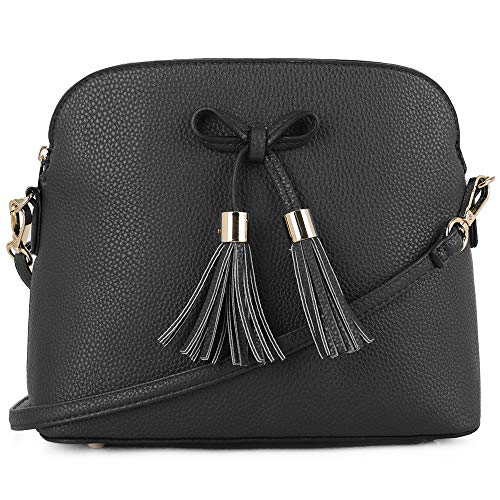 SG SUGU Lightweight Medium Crossbody Bag | Bow Tassel Zipper Pocket | Adjustable and Removable Strap | Black