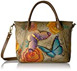 Anuschka Anna Handpainted Leather Slouch Tote Bag-Floral Paradise Tan