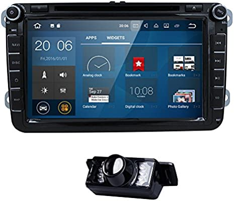 Wifi Android 7.1.1 8 Inch Double Din Car DVD Player for VW Volkswagen Jetta Golf 5 6 Skoda Passat Caddy T5 Seat with Can-bus,Bluetooth,GPS,RDS,Radio + ...