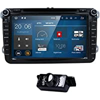 Wifi Android 7.1.1 8 Inch Double Din Car DVD Player for VW Volkswagen Jetta Golf 5 6 Skoda Passat Caddy T5 Seat with Can-bus,Bluetooth,GPS,RDS,Radio + Rearview Camera
