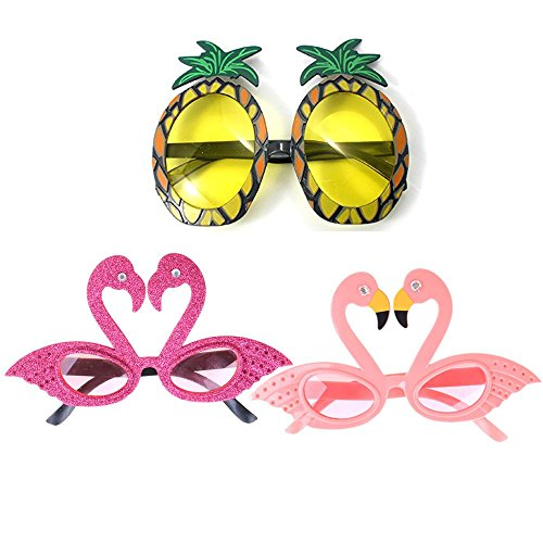 TUANTUAN 3 Pcs Funny Party Glasses Pineapple Flamingo Shape Party Glasses Hawaiian Tropical Sunglasses for Summer Fancy Dress