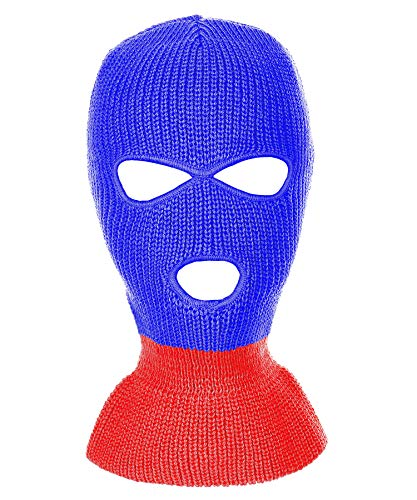 RufnTop Ski Mask for Cycling & Sports Motorcycle Neck Warmer Beanie Winter Balaclava Cold Weather Face Mask(3 Holes Blue/Red One Size) (Red Face Cold Weather)