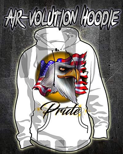 (Personalized Airbrush American Flag Bald Eagle Hoodie Sweatshirt)